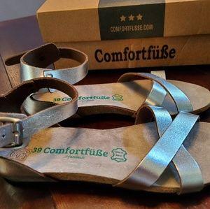 comfortfüße Shoes - Silver Milano Leather Ankle-strap Sandal